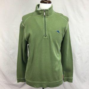 Tommy Bahama Men's Green Half-Zip Pullover Sweater